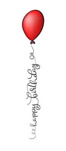 Happy Birthday Text with red balloon on white background. Calligraphy lettering Vector illustration EPS10