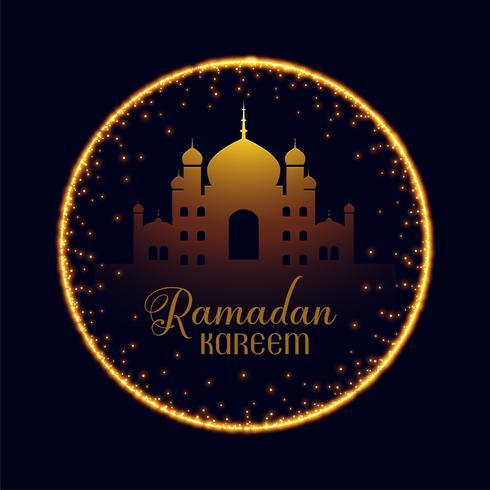 moschea di Ramadan Kareem con cornice scintillante
