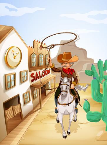 Um, homem, com, um, corda, montando, em, um, cavalo