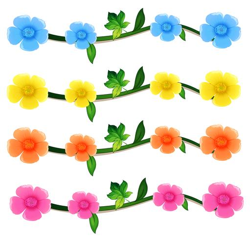 Seamless flowers in four colors vector