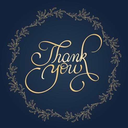 Danke, mit rundem Rahmen auf Hintergrund zu simsen. Kalligraphie, die Vektorillustration EPS10 beschriftet