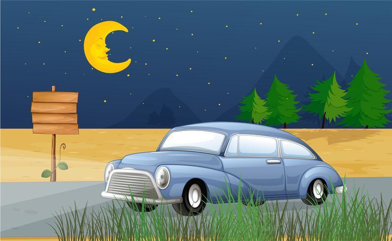 Um carro correndo no meio da noite