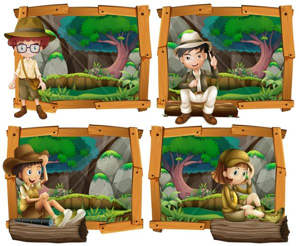 Garçons et fille campant dans les bois