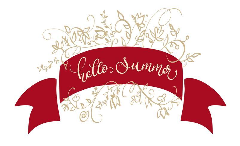 Vector de texto Hola verano en marco rojo. Ilustración de letras de caligrafía EPS10