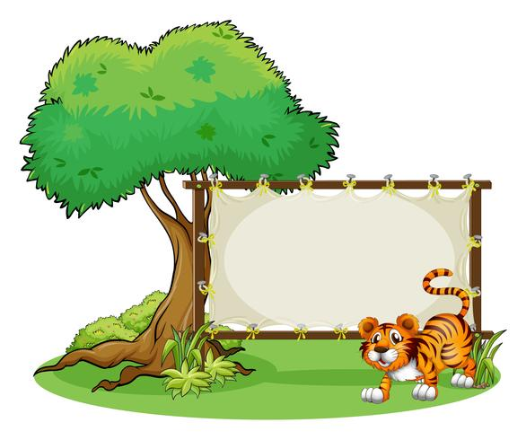 Une bannière vide encadrée avec un tigre
