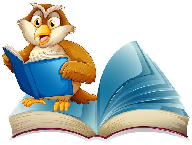Söt uggla läser en bok