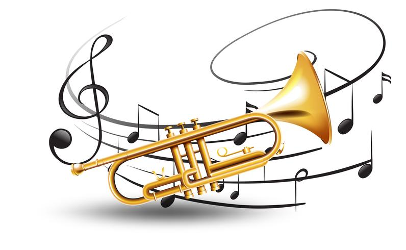 Golden trumpet with music notes in background