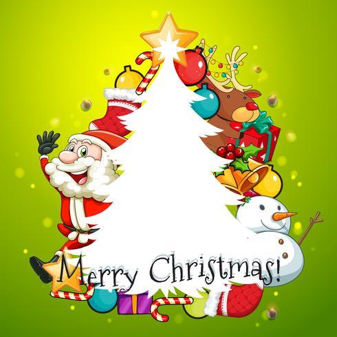 Frohe Weihnachten Karte mit Baum und Santa