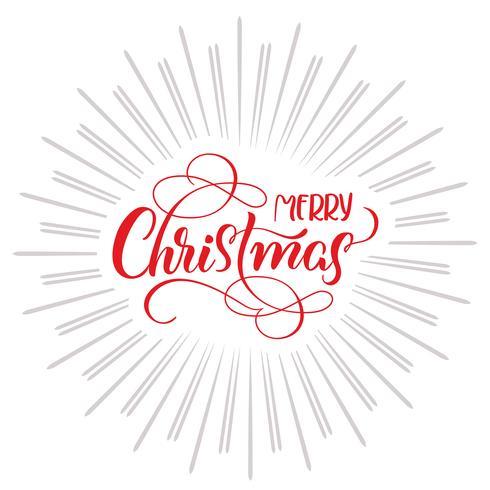 Text der frohen Weihnachten und abstrakter Hintergrund mit Strahlen. Kalligraphie-Schriftzug