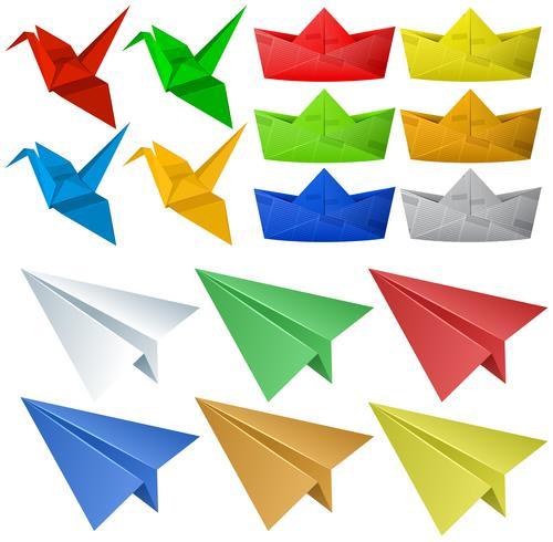 Origami-Handwerk mit Vögeln und Flugzeugen