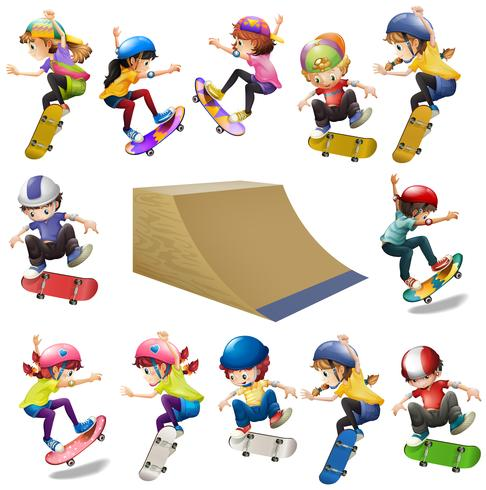 Boys and girls skateboarding on the ramp