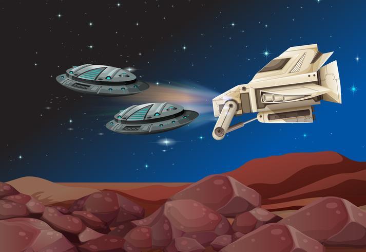 Raumschiffe fliegen über das Land