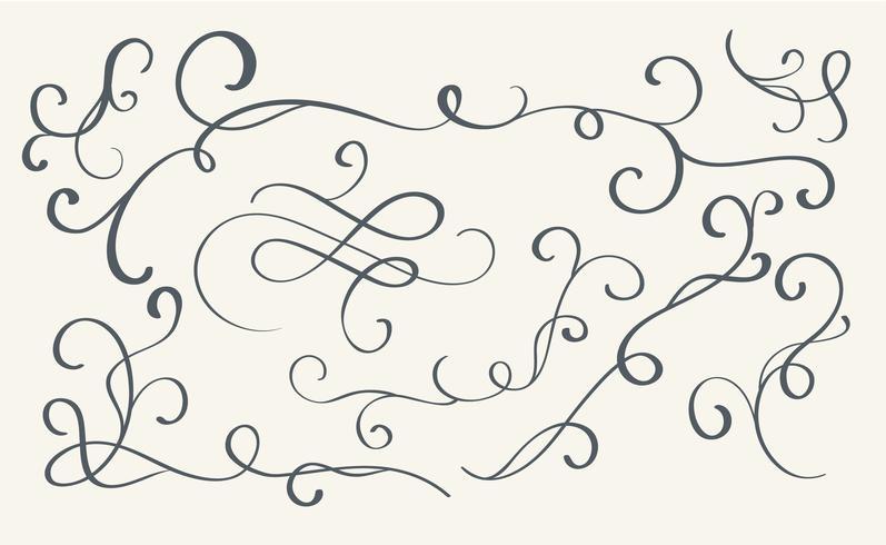Conjunto de arte caligrafía florecer vintage espirales decorativos para el diseño. Ilustración vectorial eps10