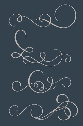 set of vintage flourish decorative art calligraphy whorls for design on background. Vector illustration EPS10