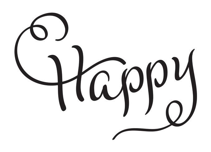 Grattis på inbjudningskortet. Svart Handtecknad kalligrafi bokstäver titel. Vektor illustration EPS10
