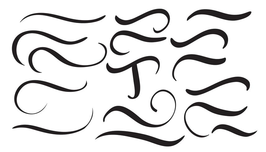 conjunto de espirales decorativos vintage de caligrafía de arte para diseño de letras. Ilustración vectorial eps10