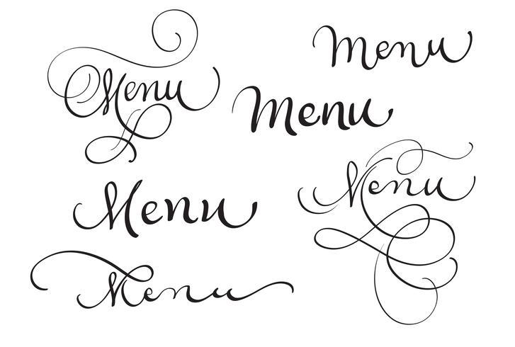 Satz Wortmenü auf Weiß. Kalligraphie, die Vektorillustration EPS10 beschriftet