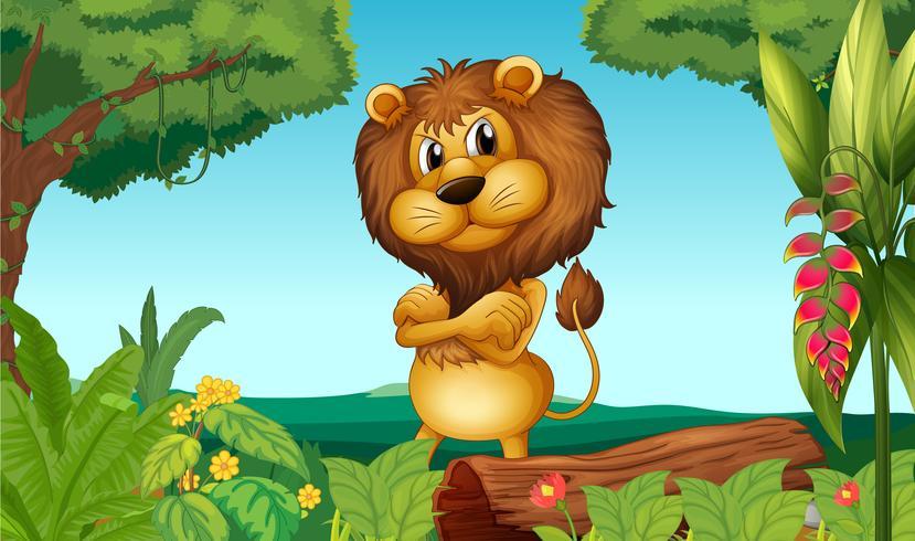 En lejon som står i skogen