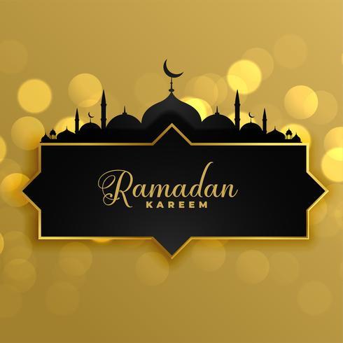 Fondo de saludo de Ramadan Kareem oro precioso
