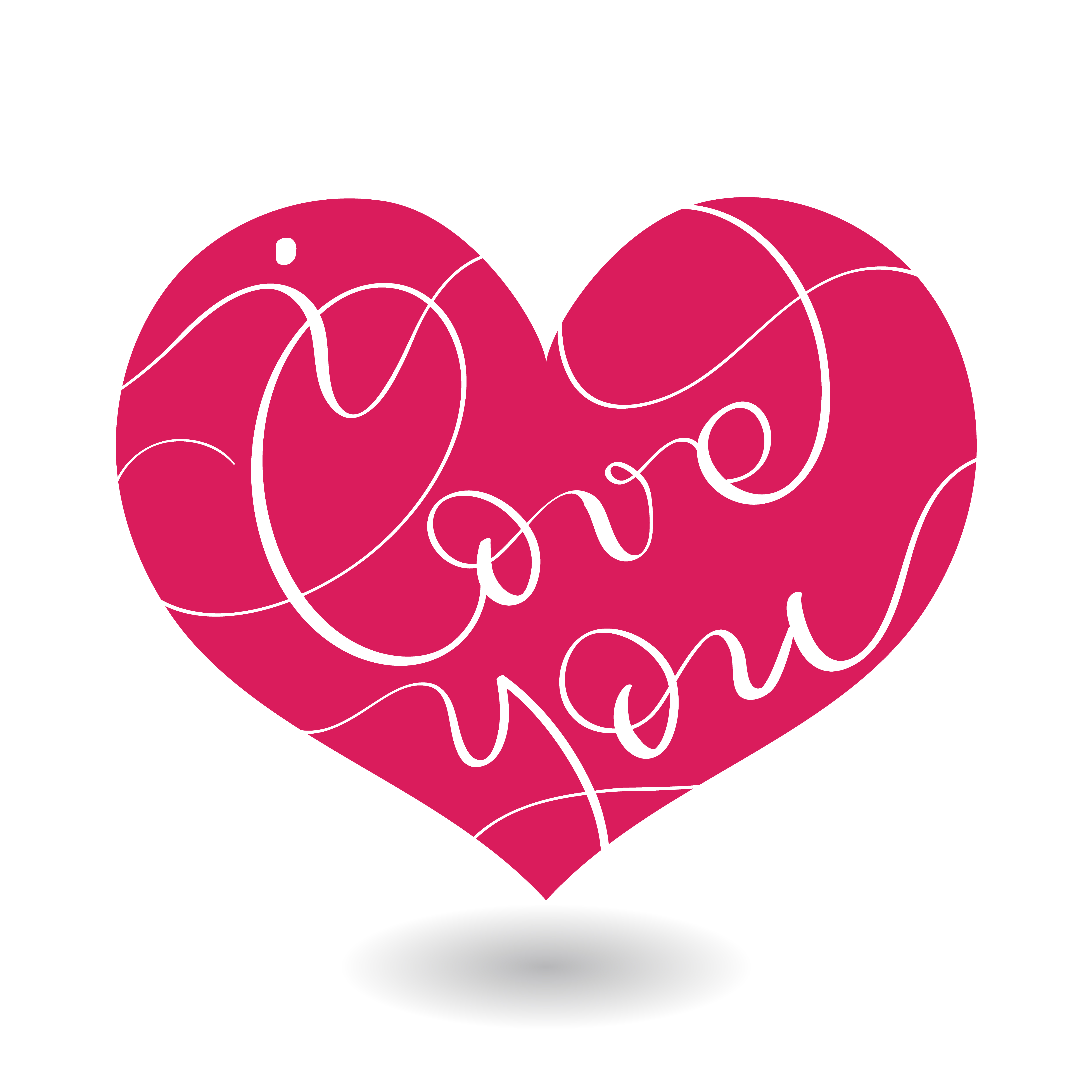 I love you text in red heart. Vector calligraphy and ...