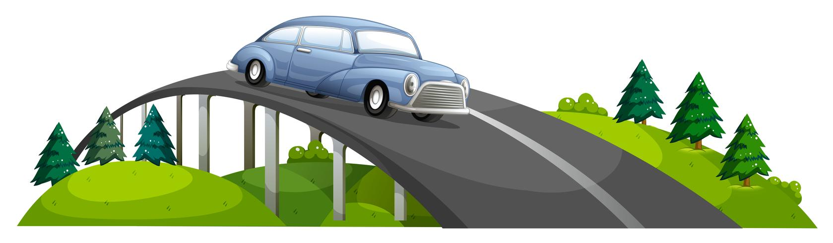 Ein Auto fährt über die Brücke