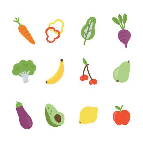 Gekritzeliges buntes Gemüse und Früchte