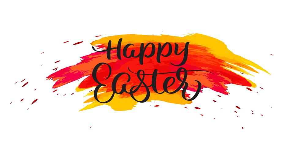 Happy Easter text on watercolor red blots. Hand drawn Calligraphy lettering Vector illustration EPS10