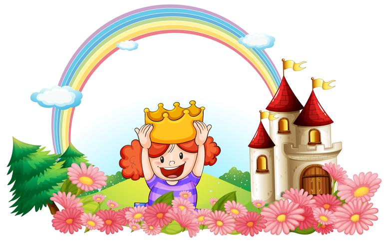 A princess with a castle at the back vector