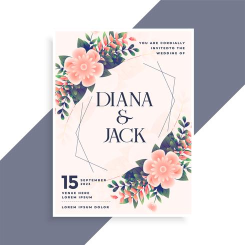 design de cartão de convite de casamento com decoração floral