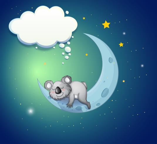 Un orso koala sopra la luna scarica gratis arte vettoriale