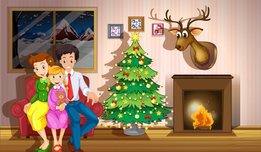 Uma família dentro da sala com uma árvore de natal