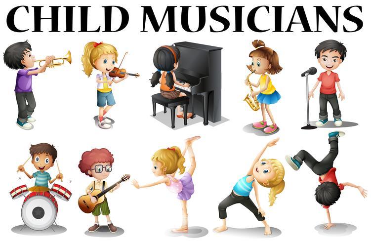 Niños tocando diferentes instrumentos musicales. vector