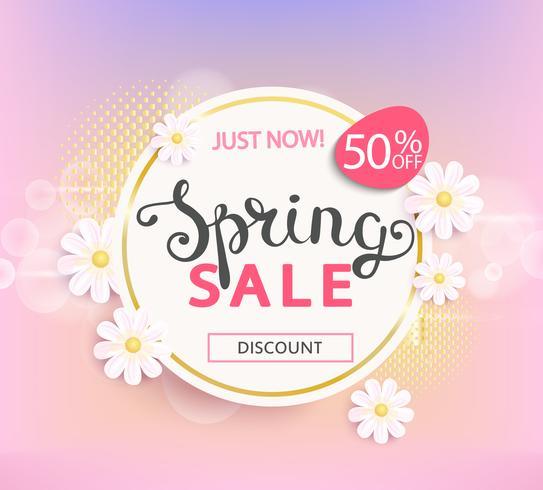 Etichetta di vendita di primavera, sconto del 50%.