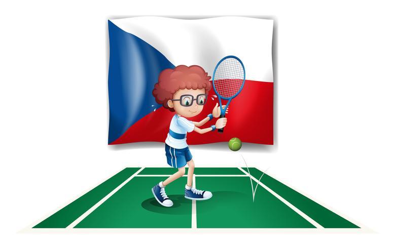 Een jongens speeltennis voor de vlag van de Tsjechische Republiek