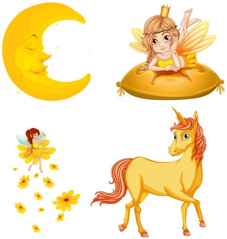 Fairy tales characters and moon