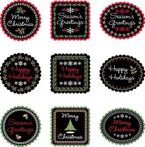 christmas gift labels vector