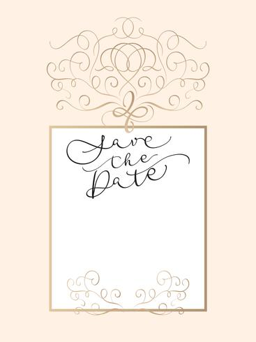 Enregistrez le texte de la date dans le cadre sur fond beige. Calligraphie lettrage Illustration vectorielle EPS10