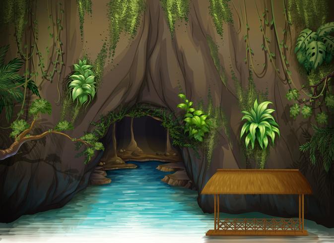 Eine Höhle, ein Wasser- und ein Holzschirm