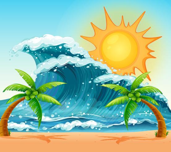 Escena con olas gigantes durante el día.