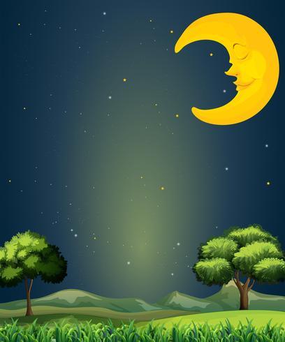 Un cielo luminoso con una luna addormentata