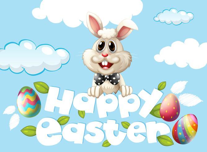 Gelukkig Pasen-kaartmalplaatje met konijntje en eieren in de hemel