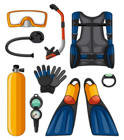 Different equipments for scuba diving vector
