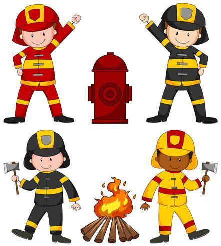 Brandweerlieden en vele apparatuur
