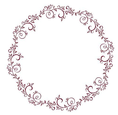 Marco redondo rojo de hojas aisladas sobre fondo blanco. Ilustración de vector de caligrafía EPS10