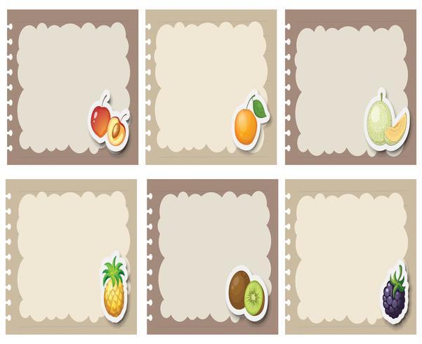 Quadratische Etiketten in grau mit Früchten