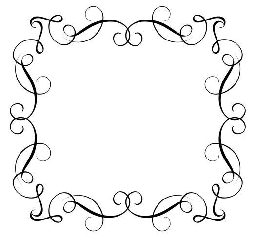 Marco decorativo y arte de las fronteras. Ilustración de vector de letras de caligrafía EPS10