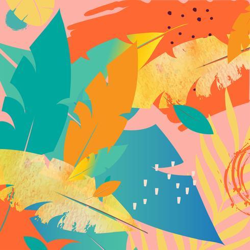 Selva tropical folhas e flores de fundo. Design de cartaz tropical colorido. Folhas exóticas, flores, plantas e ramos de impressão de arte. Padrão botânico, papel de parede, design de ilustração vetorial de tecido