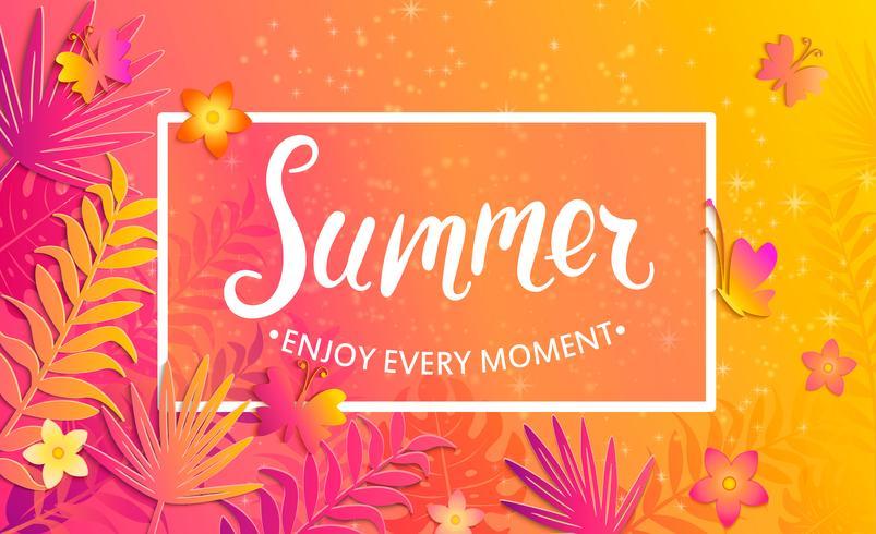 De zomerkaart met vlinders en bloemen.