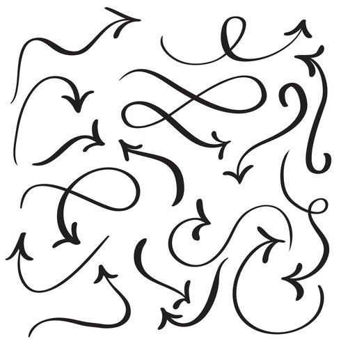 set of art calligraphy flourish vintage decorative arrows for design. Vector illustration EPS10