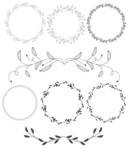 Sistema de hojas redondas del marco de los espirales decorativos del vintage redondo del flourish aisladas en el fondo blanco. Ilustración de vector de caligrafía EPS10